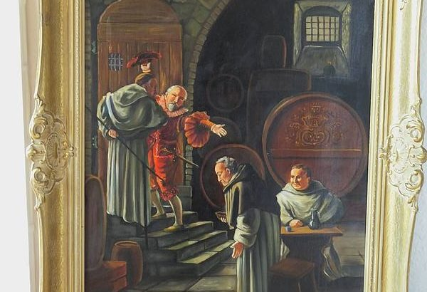Oil painting monks in the wine cellar