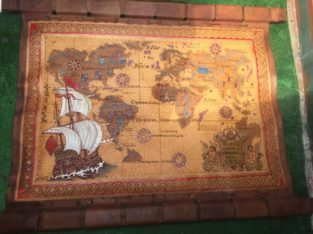 World map leather