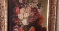 Flowers oil painting with golden frame