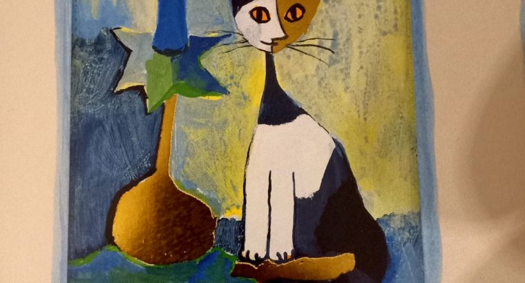 """""""Katze"""" Cat –  2 Prege pictures with gold structures"""
