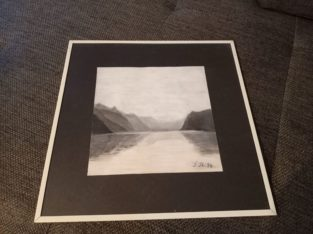 """Chalk or charcoal pencil """"Landschaft am See"""" Landscape by the lake"""