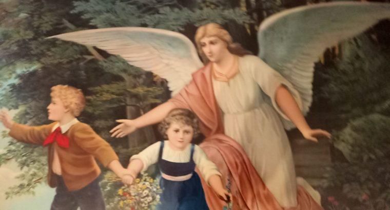"Painting: ""Schutzengel an der Klippe"" Guardian angel on the cliff"