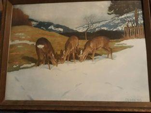 "Painting: ""Winterlandschaft mit Rehe"" Winter landscape with deer"