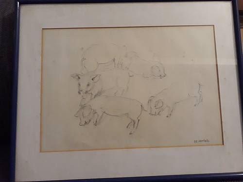 """Pencil drawing """"Schweinehaltung"""" pig farming"""