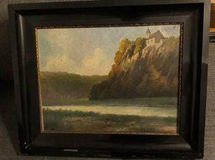 "Painting: ""Kirche auf Berg"" Church on mountain"
