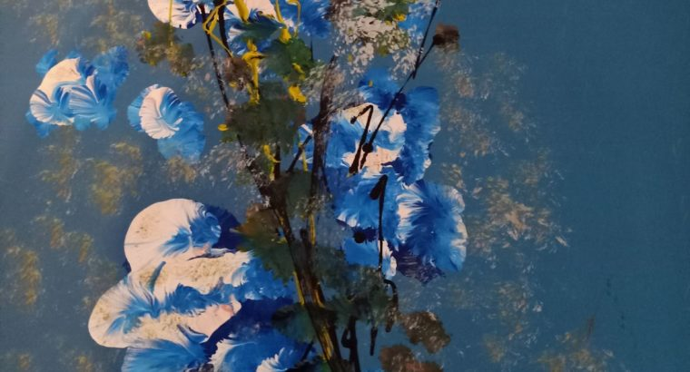 two flower paintings (blue and brown tones)