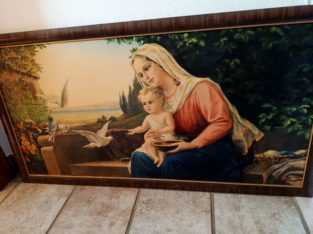 """Painting: """"Maria mit Kind und Tauben"""" Mary with child and doves"""