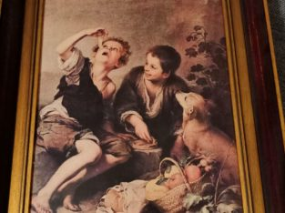 "Painting ""essende Kinder mit Hund"" eating children with dog"
