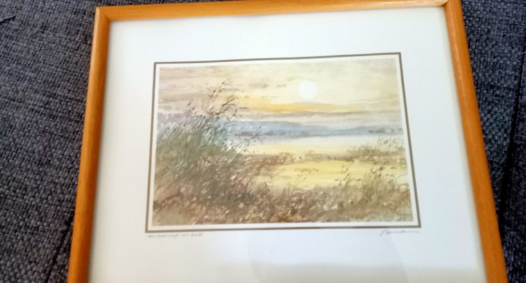 """Painting """"Moorlandschaft mit Schilf"""" Moorland with reeds"""