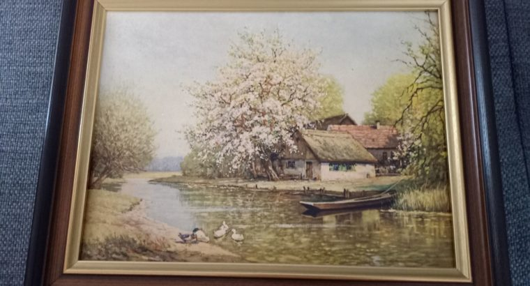 """Painting: """"Häuschen am Teich"""" The little house by the pond"""
