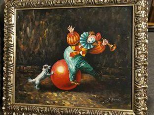 "Oil on linen painting: ""spielender Clown"" playing clown"
