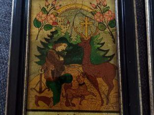 Hl. Hubertus und Johannes v. Nepomuk – Reverse painting on glass