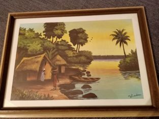 """Painting """"südl. Dorf am Wasser"""" southern village on the water"""
