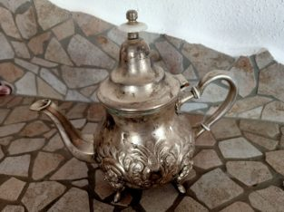 bulbous metal jug – silver-colored with pattern