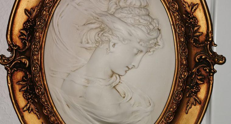 Signierte C. Lapini Firenze Marmor Skulptur mit Rahmen in Bronze