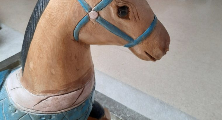 Rocking horse, solid wood, unique piece, hand painted, from Thailand